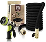 Garden Hose 50Ft Expandable Hose By LOVEL - ALL NEW Flexible Hose, Nozzle 9 Settings, 3/4' Brass Fittings.12 Months Warranty, Quick Connect Water Hose For All Uses. Expands 3X, High Pressure