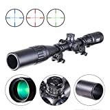 Pinty 4-16X40 Rifle Scope AO Red Green Blue Illuminated Mil Dot with Flip-Open Covers & Sunshade Tube