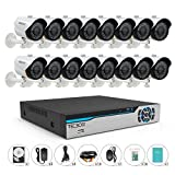TECBOX 720P Security Camera System 16CH Surveillance DVR with 16 1.3mp Weatherproof CCTV Cameras Day&Night Remote View Surveillance Video System 500GB Hard Drive Preinstalled