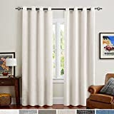 Curtains 63 Inches Burlap Window Linen Curtains for Bedroom Drapes Double Width 52 Width x 63 Length Off White