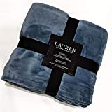 Ralph Lauren Classic Monogram Steel Blue Micromink Plush All Season Luxury Blanket | Full/Queen 90' x 90'