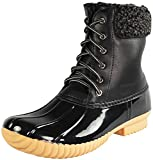 Nature Breeze Ladies Duck-02 Lace Up and Zipper Waterproof Insulated Boot (9, Black)