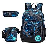 JiaYou Boy Girl Unisex 20L Fashion School Bag Backpack Bookbag with Florescent Mark 2/3 Sets
