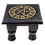 Carved Wooden Pentagram Altar Table (Small)