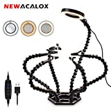 Helping Hands Third Hand Soldering with Magnifier Tool for Electronics Repair, Jewelry (With 3 Adjustable Light Settings Magnifying Lamp)