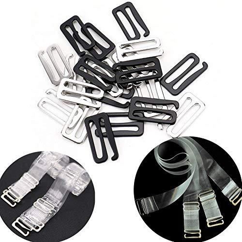 Luckycivia 30 Pack Bra Hook, Nylon Coated Metal Replacement Bra Strap Slide Hook, (25mm, Black & Silver)
