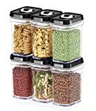 Dwellza Kitchen Airtight Food Storage Containers with Lids - 6 Piece Set/All Same Size - Air Tight Snacks Pantry & Kitchen Container - Clear Plastic BPA-Free - Keeps Food Fresh & Dry