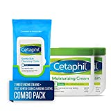 Cetaphil Moisturizing Cream, Two 16-oz. Jars, plus 10-ct. Cetaphil Gentle Skin Cleansing Cloths, Dry, Sensitive Skin (Combo Pack)