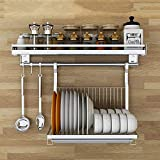 Kitchen 85° Wall-Mounted Dish Rack - Stainless Steel spice Rack - With Removable Drain Pan, Hook