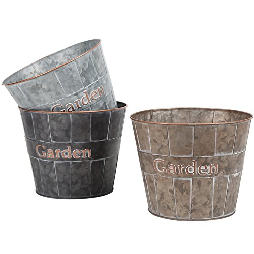 "Metal Planter Flower Pot Succulent Container Garden Bucket for Indoor or Outdoor Balcony Patio by CEDAR HOME, 8.5""W x 8.5""D x 7""H, 3 Set"