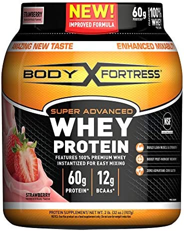Body Fortress Super Advanced Whey Protein Powder, Gluten Free, Strawberry, 2 Pound (Packaging May Vary) 1