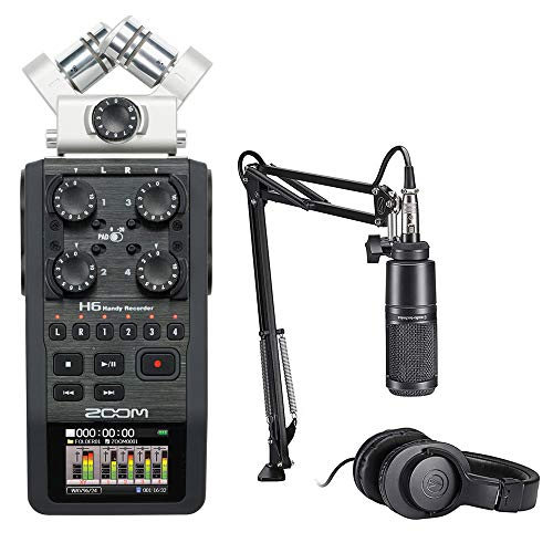 Zoom-H6-Recorder-Podcast-Kit-with-Audio-Technica-AT2020-Studio-Microphone-Bundle