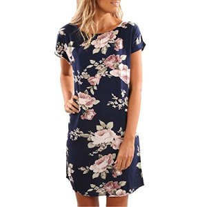 TIFENNY Fashion Ladies Summer O-Neck Floral Printed Mini Dress