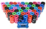 960 Pet Waste Bags, Dog Waste Bags, Bulk Poop Bags on a roll, Clean up poop bag refills - (Color: Rainbow of Colors with paw prints) + FREE Bone Dispenser, by Downtown Pet Supply