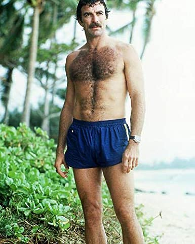 Tom Selleck 8x10 Promotional Photograph beefcake pin up in blue shorts bare chest at Amazon's Entertainment Collectibles Store