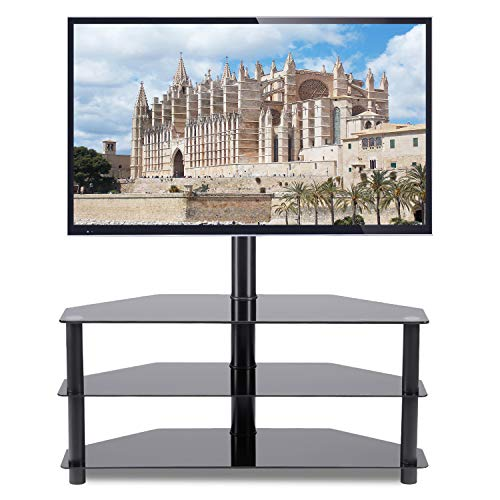 "Rfiver Corner Floor TV Stand with Swivel Mount for Most 32""-65"" LED, LCD, OLED and Plasma Flat or Curved Screen TVs, Height Adjustable 3-in-1 Entertainment Stand in Black, TW2002"