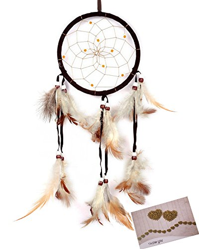BSLINO Dream Catchers Brown Handmade Beaded Feather Native American Dreamcatcher Circular Net For Car Kids Bed Room Wall Hanging Decoration Decor Ornament Craft, Dia 4.33inch/11cm Length 48cm/18.9inch