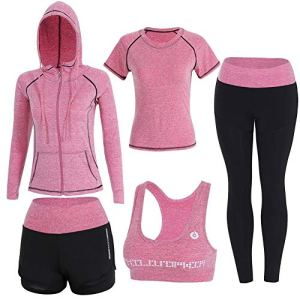 Onlyso Women's 5pcs Sport Suits Fitness Yoga Running Athletic Tracksuits 8 Fashion Online Shop Gifts for her Gifts for him womens full figure