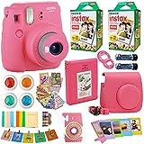 Fujifilm Instax Mini 9 Instant Camera Flamingo Pink + 2X Fuji Instax Film Twin Pack (40PK) + Pink Camera Case + Frames + Photo Album + 4 Color Filters and More Valentines Bundle