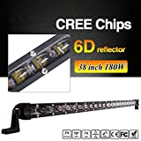 AngelMa Super Slim Led Light Bar Single Row 38 Inch 180W 10000LM CREE LED Fog Driving Lights Off Road Led Spot Lights Super Thicker Driving Lights Car Bar For Jeep ATV SUV Jeep Boat Truck 4WD