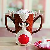 Fun Express Reindeer Face Mug-Holiday Drinkware-Hot Cocoa Gift-Holiday Decor-1 pc