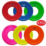 Macro Giant 9 Inch Soft Foam Frisbee Flying Discs, Set of 6, Neon Colors, Red, and Blue, Playground, Kid Sports Toy, Ring Toss Game, Parenting Activity, Outdoor Indoor, Camp Game