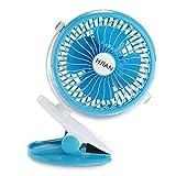 HJIAN 5-inch Clip Fan Portable Clamp Fans Battery Clip on Fans Personal Cooling Fan Tables Fan Desktop Fans Clamp Fans Baby Stroller Clip Fan Vehicle-Mounted Fan (Blue)