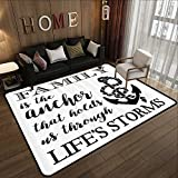 Rubber mat,Family,Family is Anchor That Holds Us Inspiration Stylized Writing Anchor with Rope,Black and White 55'x 63' Floor mats for Kids