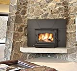 Timberwolf Economizer Series EPI22 25'' Natural Vent Wood Burning Fireplace Insert with Up to 65 000 BTU's EPA Certified Dual Blower System Full Refractory Lined Firebox and Heat Radiating Ceramic Glass