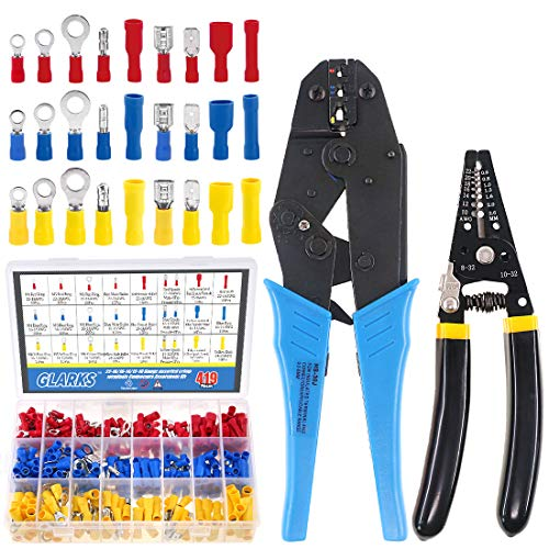 Glarks-Wire-Terminals-Crimping-Tool-Set-Insulated-Wire-Terminals-Connectors-Ratcheting-Crimper-Tool-22-10AWG-with-419Pcs-Insulated-Butt-Bullet-Spade-Ring-Crimp-Terminal-Connector-and-a-Wire-Stripper
