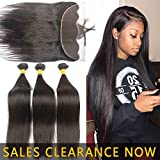 28 26 24 With 22 Best Human Straight Hair Weft 3 Bundles 9A Peruvian Virgin Hair Weave And 13x4 Frontal Closure Pre Plucked With Baby Hair Cheap Brazilian Indian 4x13 Ear to Ear Swiss Lace Frontals