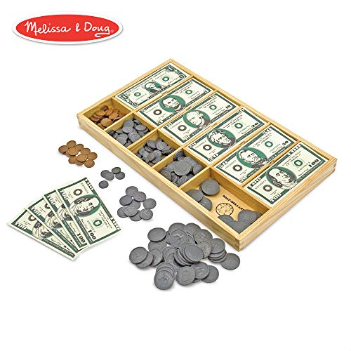 Melissa & Doug Classic Play Money Set (Developmental Toys, 50 of Each Denomination, Wooden Cash Drawer)