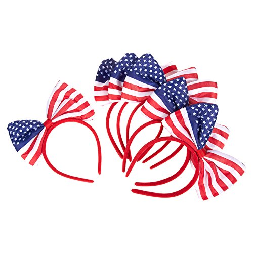 Set of 6 American Flag Bow Headband - Soft and Stretchy Plastic Head Bands with Bows