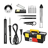 Meterk Soldering Iron Kit, 14 in 1 Adjustable Temperature Welding Soldering Iron with ON/OFF Switch 5pcs Soldering Tips Solder Sucker Desoldering Wick Solder Wire Anti-static Tweezers Iron (black)