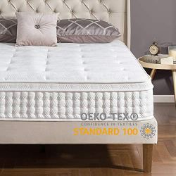 12 Inch Euro Top Pocket Spring Hybrid Mattress/Pressure Relief/Pocket Innersprings for Motion Isolation/Bed-in-a-Box, Queen