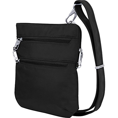 """Top zip closure Adjustable strap drop length 14"""" - 25"""" Main compartment has RFID blocking card and passport slots, open top pocket, zippered wall pocket and tethered key clip with LED light"""