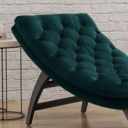 Christopher Knight Home Grasby Tufted Teal Velvet Chaise Lounge, Dark Brown