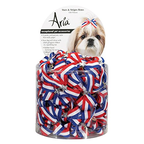 Aria Stars and Stripes Bows for Dogs, 100-Piece Canisters 1