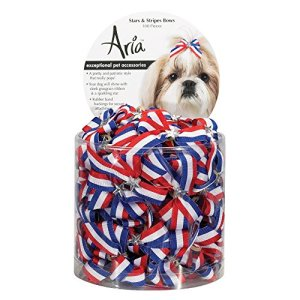 Aria Stars and Stripes Bows for Dogs, 100-Piece Canisters