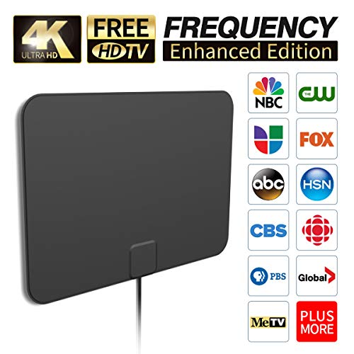 [2019 Latest] HD Digital Amplified TV Antenna Long 65-100 Miles Range – Support 4K 1080P & All Older TV's Indoor Powerful HDTV Amplifier Signal Booster - 18ft Coax Cable