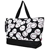NGIL Baseball Black XL Canvas Tote Bag