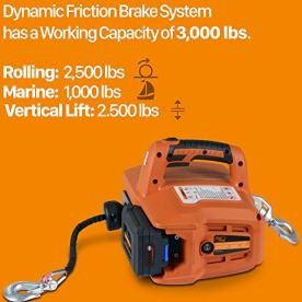 SuperHandy-Electric-Portable-Winch-Hoist-1000Lbs455Kgs-Max-Weight-20-Feet6m-Polyethylene-Cable-wLocking-Knob-Brushless-Motor-Li-Ion-Powered-for-ATV-Truck-Boat-Trailer-etc