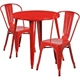 Flash Furniture 30'' Round Red Metal Indoor-Outdoor Table Set with 2 Cafe Chairs