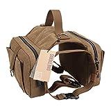 OneTigris Dog Pack Hound Travel Camping Hiking Backpack Saddle Bag Rucksack for Medium & Large Dog (Old Vesion, One Size:(Neck:16'-26',Chest:30'-42'))