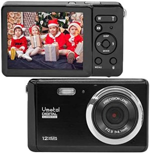 Compact Digital Camera, Vmotal 2.8″ LCD 12MP Rechargeable Digital Camera with 8X Digital Zoom Auto Flash 1080P Video Camera for Kids Teenagers Gifts (Black)