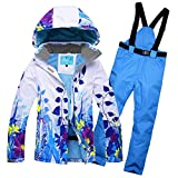 GS Snowing Women's Windproof and Waterproof Snowboard Colorful Ski Jacket and Pants Set Blue Small