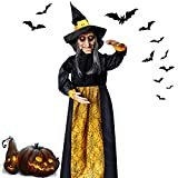 LUKAT Halloween Hanging Witch Decoration Glowing Eyes Talking for Party Haunted House Prop Decor