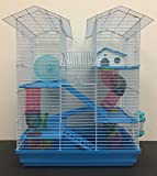 Large 5 Floor Twin Towner Habitat Syrian Hamster Rodent Gerbils Mouse Mice Rat Cage (Blue)