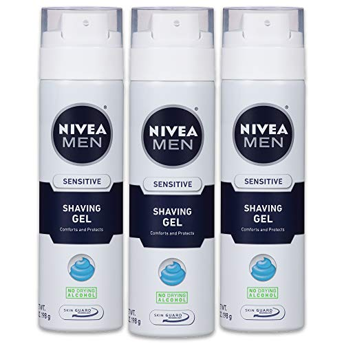 NIVEA Men Sensitive Shaving Gel - Protects Sensitive Skin From Shave Irritation - 7 oz. Can (Pack of 3)