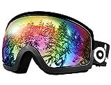 Odoland General OTG Ski Goggles for Adult, Double Anti-Fog Lenses with UV400 Protection, S2 Goggles for Snowboarding Skating Sledding, Black